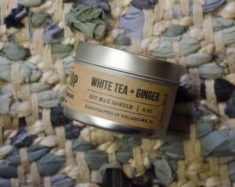White Tea + Ginger - Tin Candle - Hand Poured Soy Candle