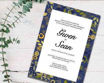 Dark florals wedding invite - printable
