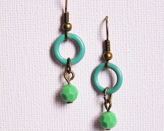Two-tone earrings Mint Green Pearl and turquoise ring