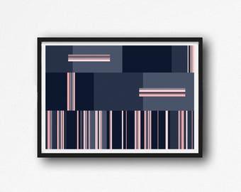 minimalism art, Abstract geometric, Large Wall Art , Modern Minimalist, Modern Art, Abstract Art, Lines Art, print navy blue and pink