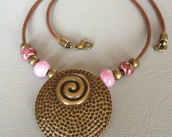 Crew neck ethnic style, beads Greek ceramic, purple tones, waxed cord.
