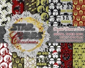 "Star Wars paper: ""STAR WARS DREAMS"" digital paper patterns, Scrapbooking paper, Star Wars instant, Seamless pattern, Star Wars seamless"
