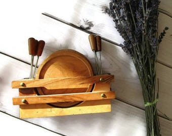 Olive wood Coaster Set With Holder , Vintage, Round Wooden Coasters Rustic Home Vintage Coasters Set of 6 coasters Wooden Gift