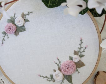 Pastel flowers ,Floral embroidery,  Unique  Wedding gift, Add your text or names, Hand embroidery, Embroidery hoop, Unique decor, Wall Art