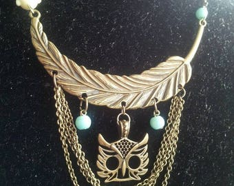 short necklace, bronze feather, OWL