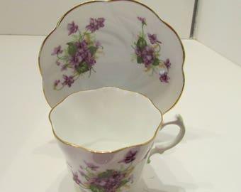 Salisbury Bone China Violet Tea Cup and Saucer Set