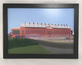 Ibrox Stadium framed Print, Rangers, Rangers Fc, Glasgow Rangers