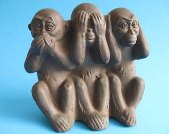 3 Monkeys, Speak No Evil, See No Evil,  Hear No Evil 3 Monkeys,  Karlsruher Majolica West Germany