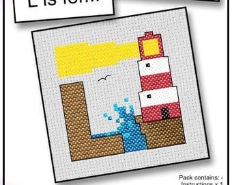 L is For... Lighthouse Mini Alphabet Cross Stitch Kit with DMC Thread, 5x5 cm
