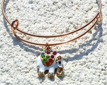 Elephant Charm Bracelet Expandable Bangle Bracelet Elephant Bracelet Rose Gold Expandable Bracelet