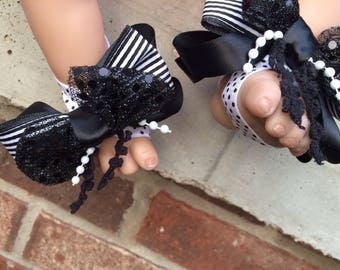 Barefoot sandals, black and white polka dot and striped, big bow barefoot sandals, dots and stripes bow baby barefoot sandals