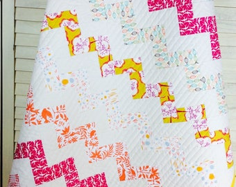 Baby Quilt, Zig Zag Baby Quilt, Patchwork Quilt, Patchwork, Quilt, Baby Bedding, Zig Zag, Modern Quilt, Modern Patchwork, Scrappy Patchwork