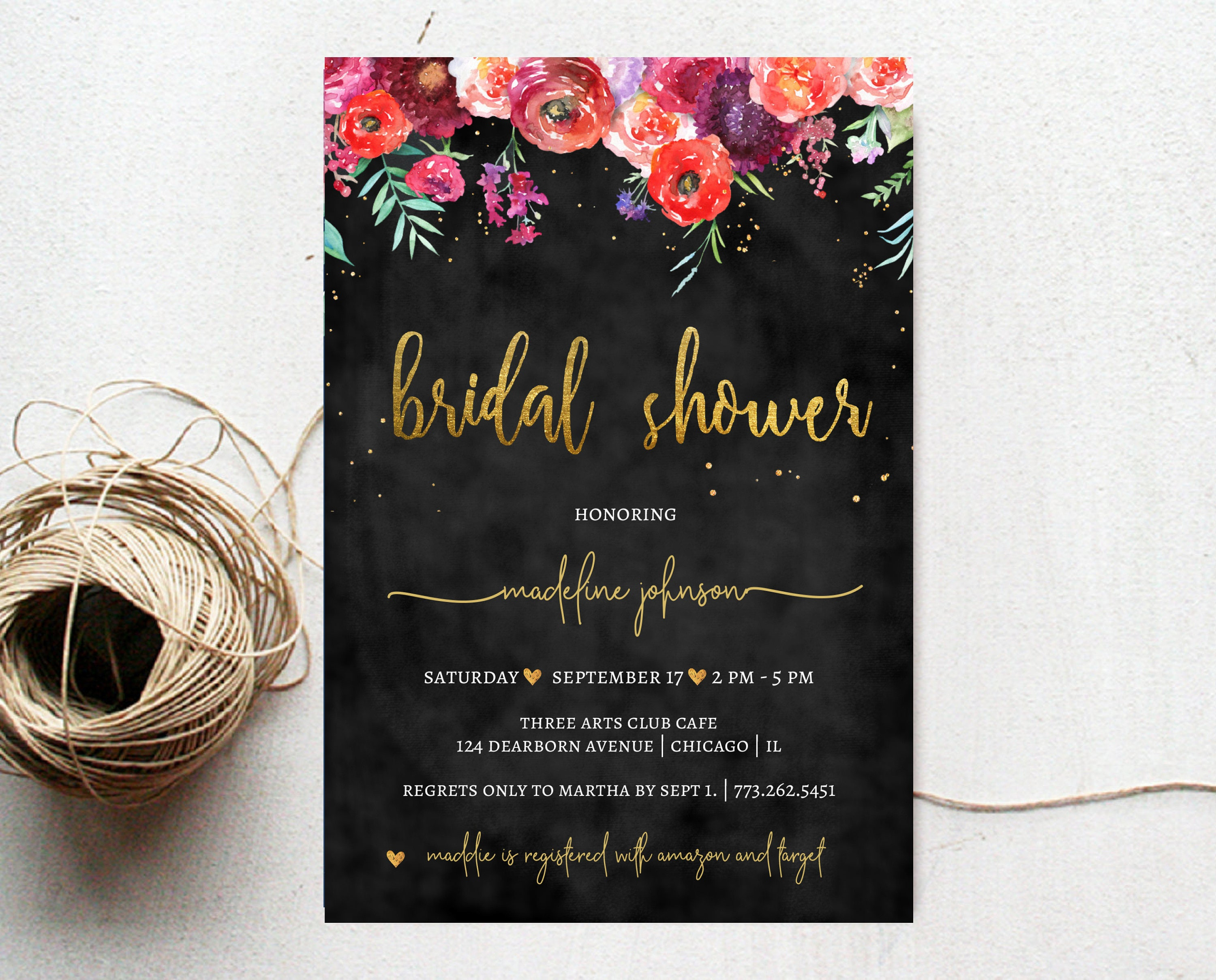 Printable bridal shower invitation winter wedding floral printable bridal shower invitation winter wedding floral chalkboard boho gold invite filmwisefo Choice Image