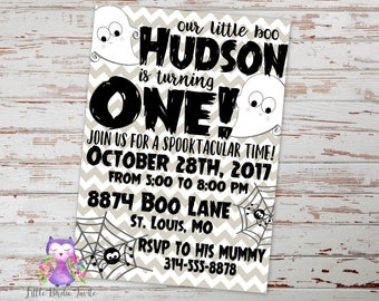 Boy Halloween Birthday Invitation | Ghost Birthday Invitation | Halloween Party Invitation | Costume Party Invitation | Spooktacular Invite