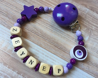 Pacifier clip-pacifier with name Zeynep wooden beads
