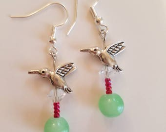 Hummingbird Beaded Earrings
