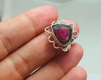 WOW Beautiful Polish Watermelon Tourmaline Slice Ring Silver 925@ Afghanistan(A)