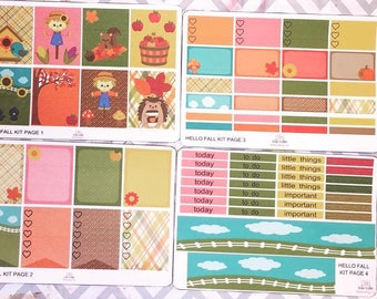 Hello Fall Weekly Kit- 6 Pages- Vertical Erin Condren Life Planner