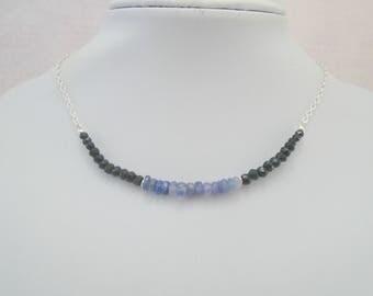 Tanzanite Necklace, Beaded Gemstone Necklace, Tanzanite Jewelry, December Birthstone, Dainty Tanzanite necklace, Sterling Silver Necklace