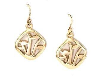 9ct gold winter vine earrings