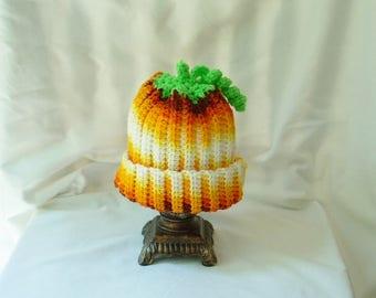 Toddler Pumpkin Hat, Halloween Costume Party Hat, Crochet Fall Costume Hat, Boy, Girl Winter Hat, Stocking Cap, Food Hat,