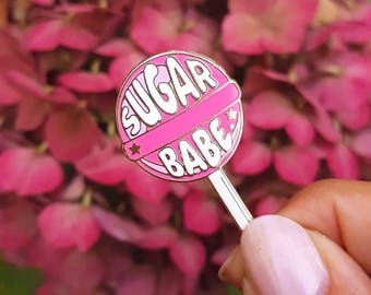 Lollipop enamel pin sugar babe |  Sweet candy lapel pin | cute gift for her | Candy lollipop pin | Lolli enamel brooch pin