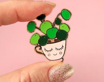 Pilea enamel pin badge pink  | Pilea Peperomioides | Pilea kawaii lapel pin | Wedding gift | Crazy Plant lady pin | Chinese Money Plant