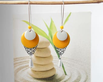 Yellow/gray sequin Silver earrings