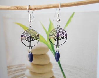 Earrings tree of life print Navy Blue sequin