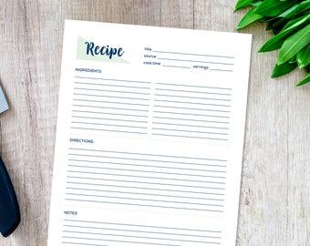 Recipe Page, Recipe Printable, Recipe Card, Recipe Template, Recipe Sheet, Blank Recipe Book, Printable Recipe, Instant Download, Cookbook