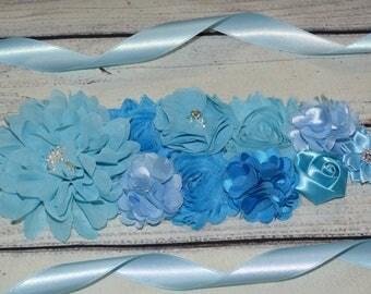 Shades of Blue Sash, Maternity Sash ,maternity sash boy,Blue Maternity Sash , Flower Belt , Baby Shower Sash, Pregnancy Belt, Baby Shower