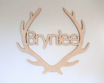 Antler Wooden Sign, Antler Sign, Antler With Name Sign, Personalized Antler With Name, Kids Room, Nursery Decor, Wall Hanging