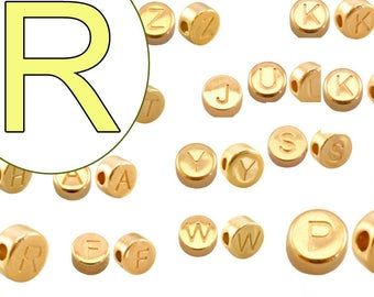 alphabet bead  R 7mm gold plated #3734