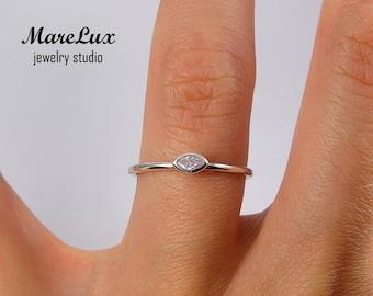 Marquise Cut Lavender Diamond Silver Ring, Simulated Lavender CZ Marquise Stackable Ring, Stacking Marquise Lavender Cubic Zirconia Ring