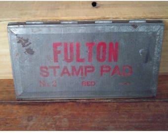 Vintage Fulton Ink Stamp Pad, Red Stamp Pad, Retro Office Décor, Vintage Office, Antique Stamp Pad