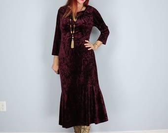 1980s Dress - Crushed Velvet Midi Dress - Boho Hippie - Deep Burgundy - Three Quarter Sleeves - Cowl Neck - Size Medium Large