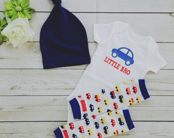 Little Brother baby bodysuit set with hat and leg warmers , Little Brother outfit