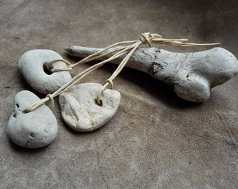 Naturally holed stones Small Hag Stone pendants Witchcraft amulets Hag stones for necklace