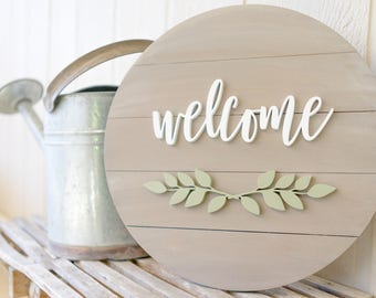 Welcome wood sign, wooden welcome sign, Home Decor Signs, Wooden round sign, Wedding gift ideas, Housewarming gift, farmhouse decor