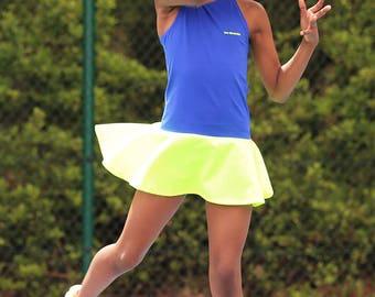 Daria RacerBack Neon Girls Tennis Dress   Girls Tennis Clothes   Junior Tennis Wear Outfit