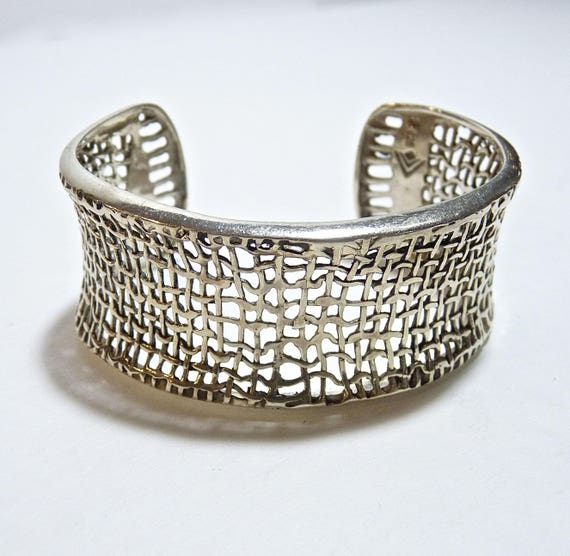 SILPADA MESH CUFF ~ Retired Sterling Silver Silpada Cuff Bracelet ~ Woven Sterling Silver Mesh Cuff ~ Artisan Boho Chic ~ Mint Condition