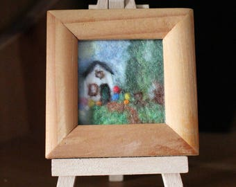 Miniature Wet-Felted Picture Of A Cottage And Garden With Needle Felted Details, It Comes With A Small Easel
