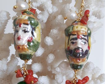 Earrings with Caltagirone ceramic teste di moro, pearls, coral and silver