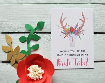 Will You Be My Maid Of Honour? - Bride Tribe. Boho Maid Of Honour Card - Bridesmaid Card - Maid Of Honour Proposal Card.