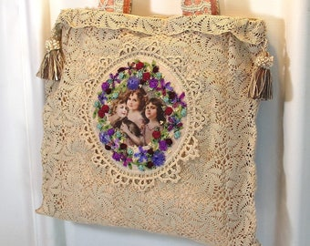 Tote Bag Repurposed Vintage Crocheted Doily Table Scarf Ribbon Embroidery Shabby Cottage Chic Lace Doily Bag RTB8-06