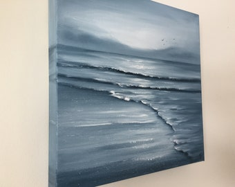 Monochromatic Black and White Coastal Landscape, Monochrome Ocean Beach Art, Original Seascape Oil Painting on Canvas, Solitude