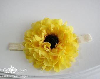 Sunflower Headband, Baby Girl Headband, Newborn Headband, Sunflower Baby Headband, Baby Photo Prop, Infant Headband