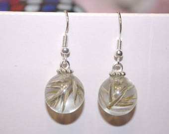 Beautiful earrings resin inlay Thorn Tree