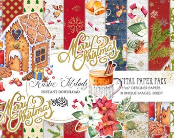 Digital paper,Christmas Paper Pack, Gingerbread Cookies, Planner Supplies, Winter , Designer Paper Pad, Cookie , Cane ,Hot Chocolate, Xmas
