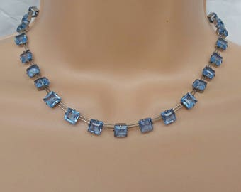 Riviere Necklace Blue Crystal Art Deco Choker Collet 1920s Sterling Silver Square Cut  Jewelry UK